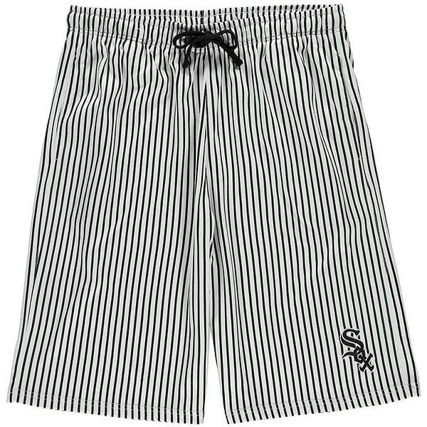 Men's White/Black Chicago White Sox Big & Tall Pinstripe Shorts