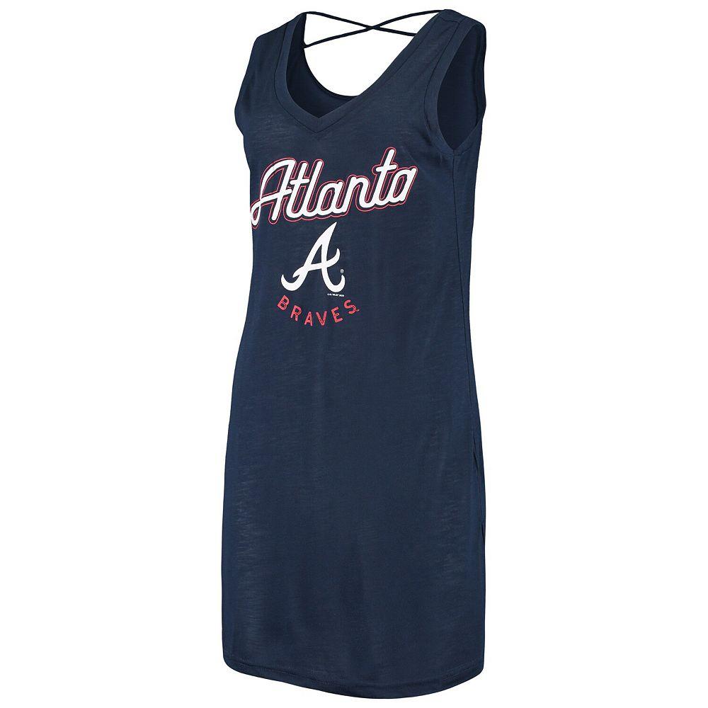 Women's G-III 4Her by Carl Banks Navy Atlanta Braves Beach Cover-Up Dress