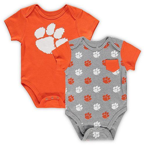 Infant Orange/Gray Clemson Tigers 2-Pack Little Kicker Bodysuit Set