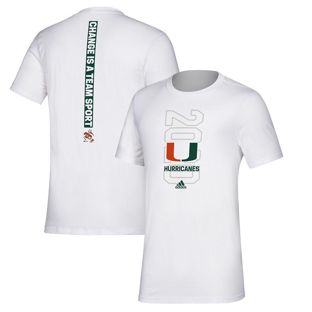 Men's adidas White Miami Hurricanes Basketball Bench T-Shirt