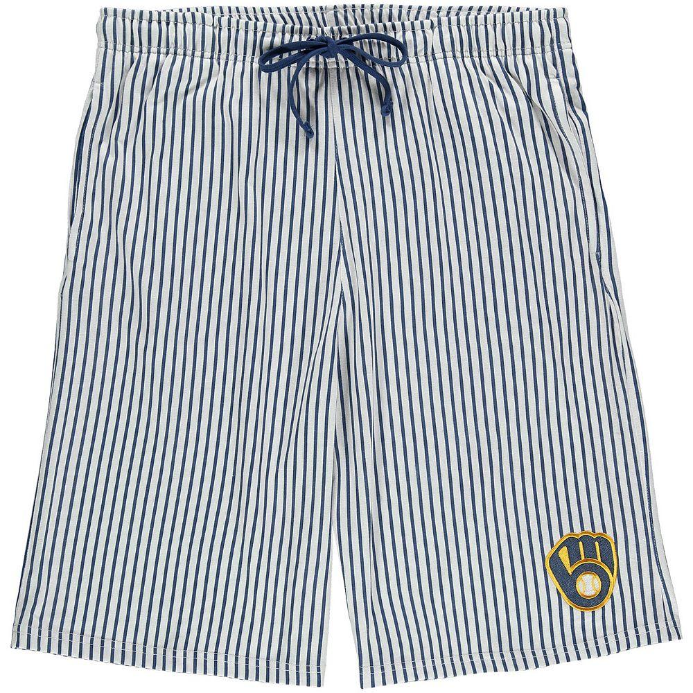 Men's White/Royal Milwaukee Brewers Big & Tall Pinstripe Shorts