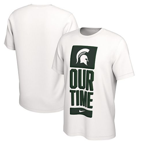 Men's Nike White Michigan State Spartans Basketball Our Time Bench Legend Performance T-Shirt