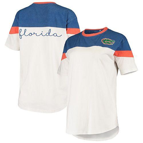 Women's Pressbox Royal/White Florida Gators Blossom Colorblocked T-Shirt