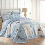 Beach Haven Seersucker Sealife Bedspread or Sham