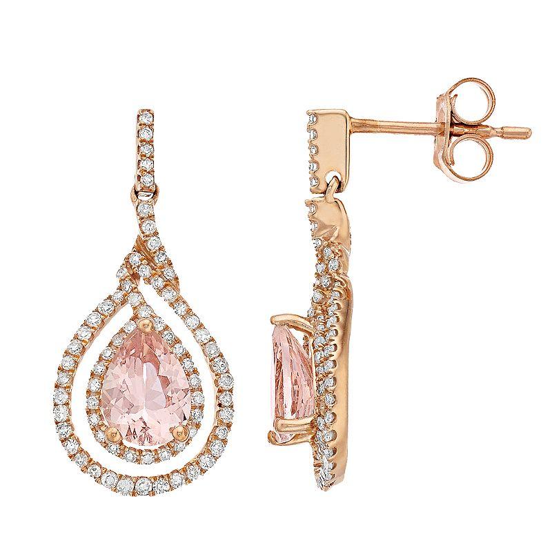 10k Rose Gold Morganite & 3/8 Carat T.W. Diamond Drop Earrings, Women's, Pink