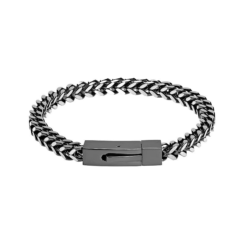 "Men's LYNX Black Stainless Steel Foxtail Chain Bracelet, Size: 9"""