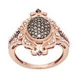 10k Rose Gold 1/2 Carat T.W. Brown & White Diamond Cocktail Ring
