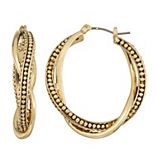 Napier Gold Tone Textured Layered Hoop Earrings