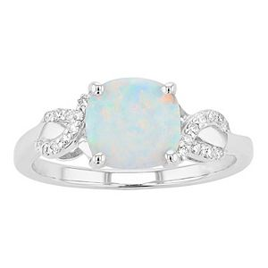 Sterling Silver Lab-Created White Opal & 1/10 Carat T.W. Diamond Ring