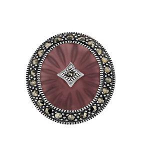 Lavish by TJM Sterling Silver Purple Sunray Crystal & Marcasite Ring