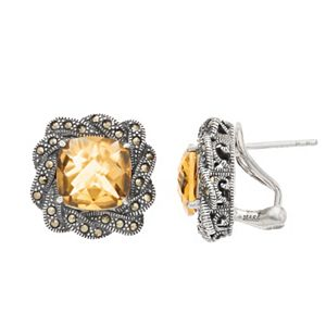 Lavish by TJM Sterling Silver Citrine & Marcasite Stud Earrings