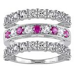 Stella Grace Sterling Silver Lab-Created Ruby & Lab-Created White Sapphire Ring Set