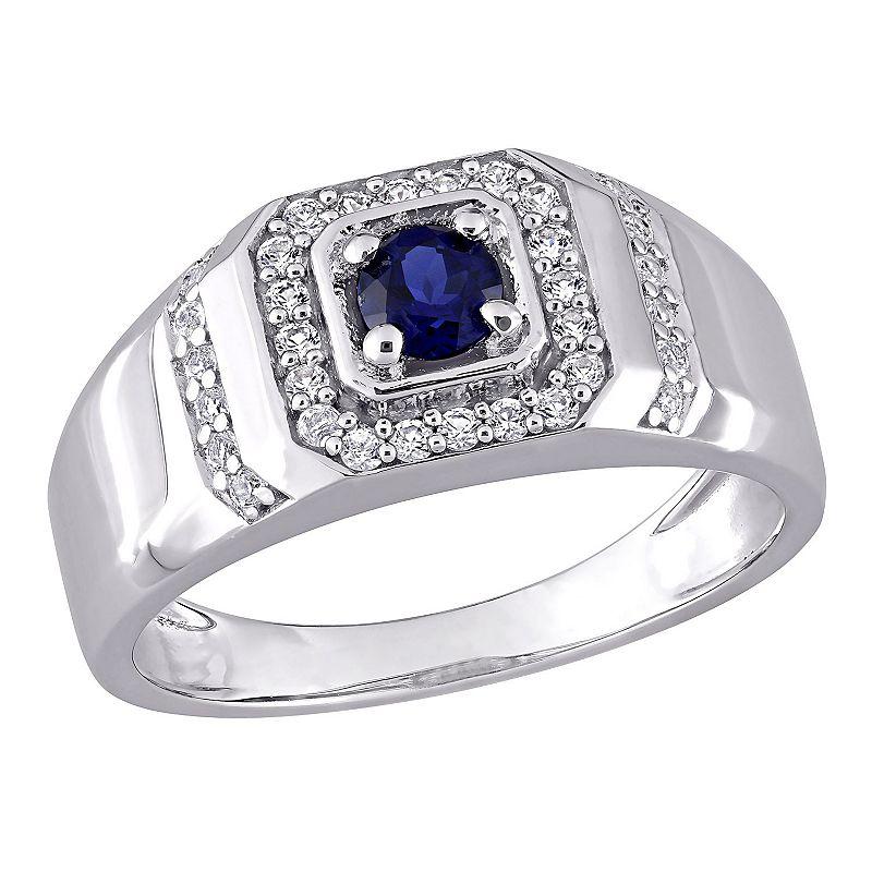 Men's Stella Grace Lab-Created Blue & White Sapphire Ring, Size: 12