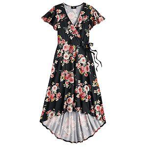 Juniors' IZ Byer Surplice High-Low Maxi Dress