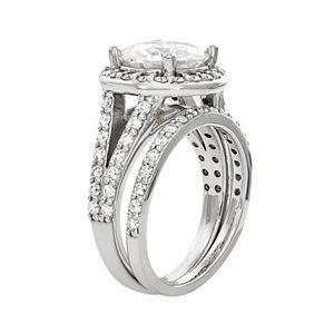 Charles & Colvard 14k White Gold 3 5/8 Carat T.W. Moissanite Haloed Bridal Ring Set