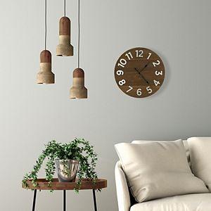 Patton Frameless Rustic Walnut Wood Plank Wall Clock