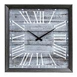 Patton Rustic Graywash Square Wall Clock
