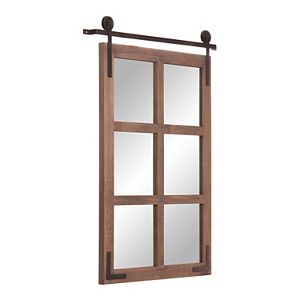 Patton Sliding Barn Door Wood Window Wall Mirror