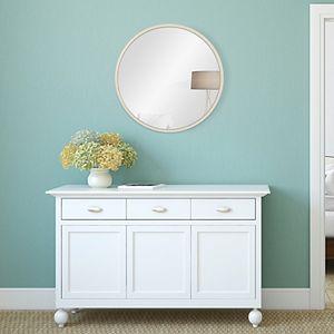 Patton Distressed White Metal Framed Round Wall Mirror