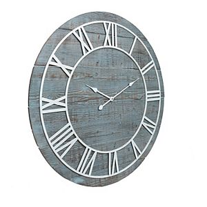 Patton Rustic Washed Gray Wood Plank Frameless Wall Clock