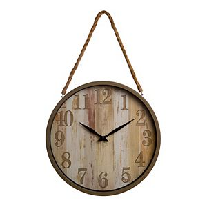 Patton Distressed Woodgrain Clock with Rope Accent