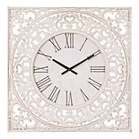 Patton Distressed White Ornate Wood Carved Wall Clock