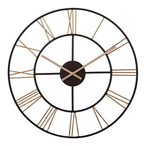 Patton Black & Gold Metal Cut-Out Roman Numeral Wall Clock