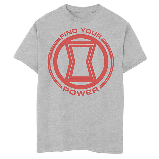 Boys 8 20 Marvel Black Widow Find Your Power Red Logo Graphic Tee