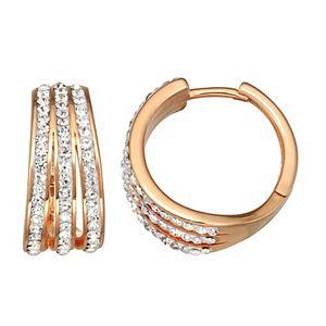 Sterling 'N' Ice Gold Over Silver Crystal 3-Row Huggie Hoop Earrings