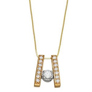 Sirena Collection 10k Gold 1/3 Carat T.W. Diamond Ladder Pendant Necklace