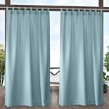 Exclusive Home 2-pack Biscayne Indoor/Outdoor Two Tone Textured Tab Top Window Curtains