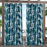 Exclusive Home 2-pack Jamaica Palm Indoor/Outdoor Light Filtering Grommet Top Window Curtains