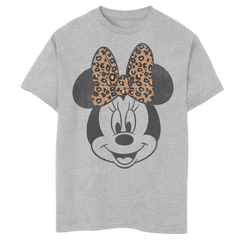 Disney's Minnie Mouse Boys 8-20 Leapord Print Bow Portrait Graphic Tee, Boy's, Size: Small, Grey