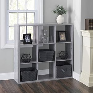 Home Basics 9 Open Cube Organizing Wood Storage Shelf