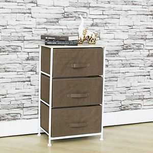 Home Basics 3 Drawer Fabric Dresser Rolling Storage Cart with Wood Top