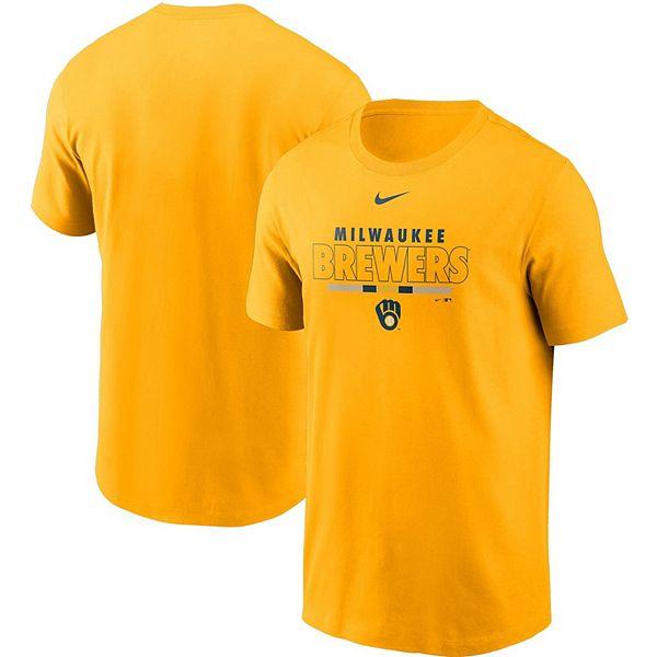 Men's Nike Gold Milwaukee Brewers Color Bar T-Shirt