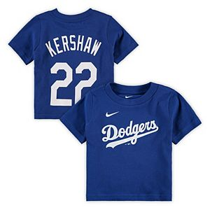 Infant Nike Clayton Kershaw Royal Los Angeles Dodgers Player Name & Number T-Shirt
