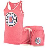 Women's Concepts Sport Heathered Red LA Clippers Loyalty Tank and Shorts Sleep Set