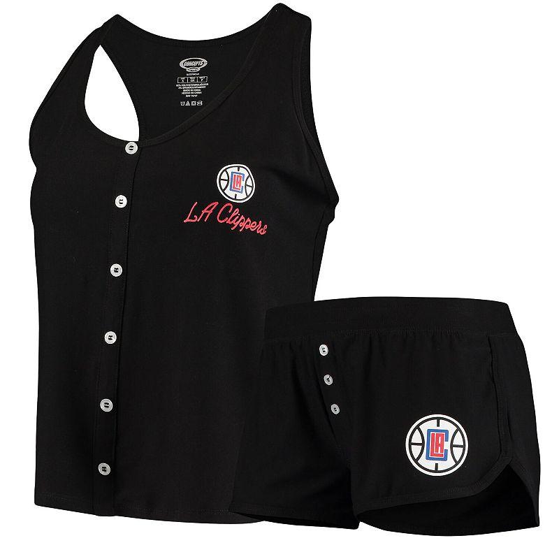 Women's Concepts Sport Black LA Clippers Cloud 7 Knit Tank Top & Short Set, Size: Large
