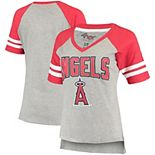 Women's G-III 4Her by Carl Banks Heathered Gray/Red Los Angeles Angels Goal Line Raglan V-Neck T-Shirt