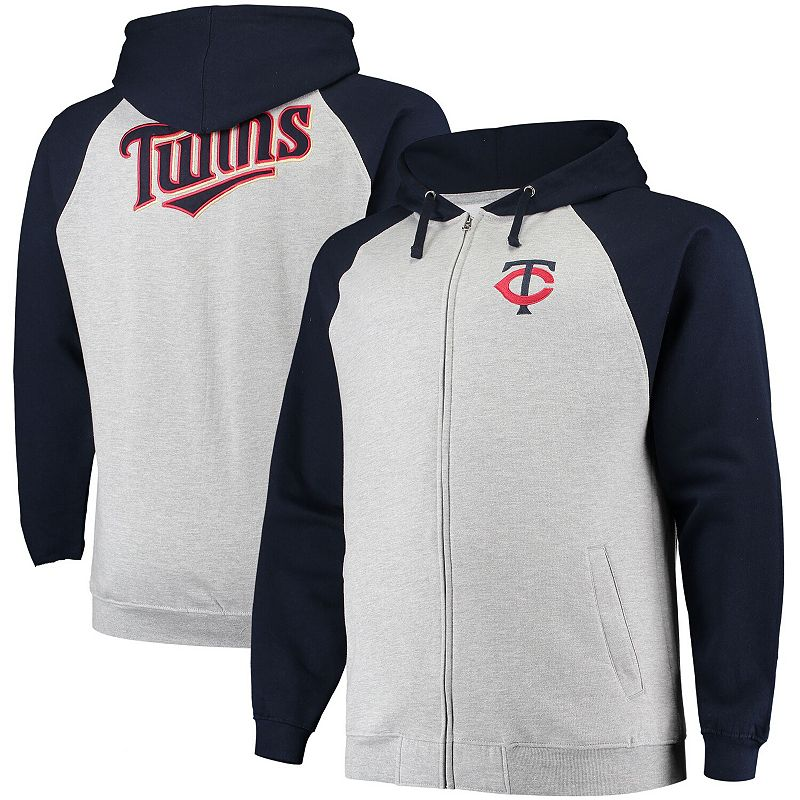 Men's Heathered Gray Minnesota Twins Big & Tall Raglan Full-Zip Hoodie, Size: 5XB, Grey