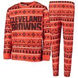 Youth Orange/Brown Cleveland Browns Wordmark Long Sleeve T-Shirt & Pants Pajama Set