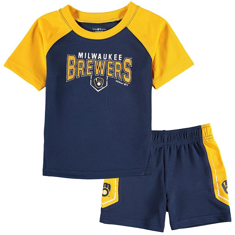 Infant Navy/Gold Milwaukee Brewers Follow Through T-Shirt & Shorts Set, Infant Unisex, Size: 12 Months, Blue