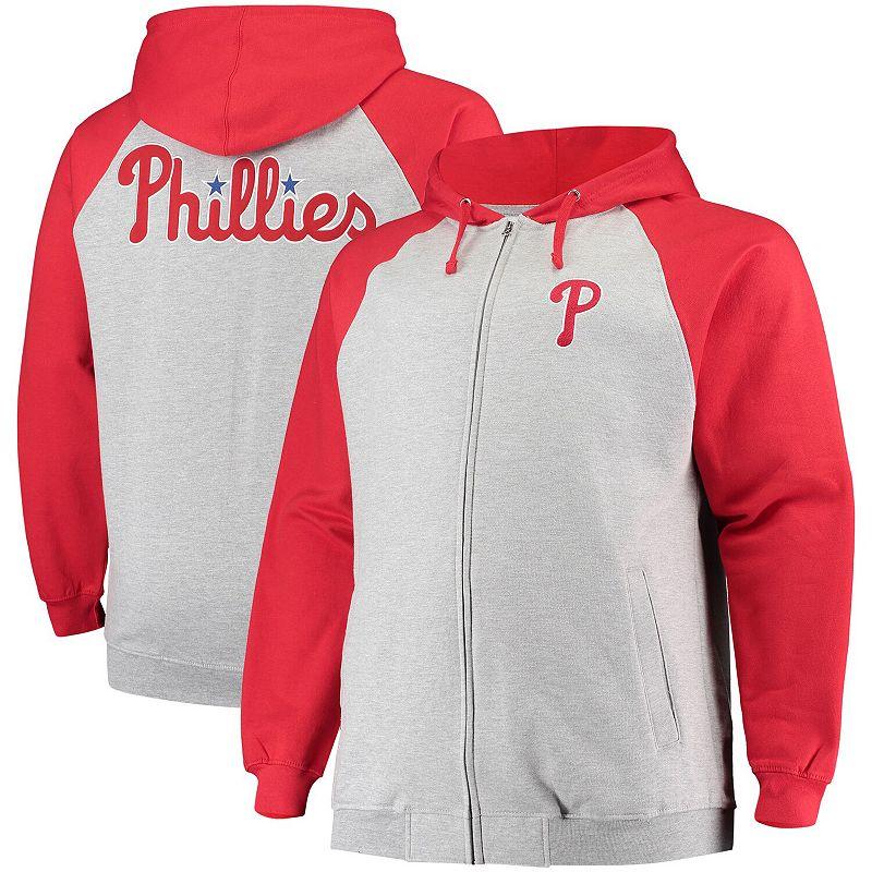 Men's Heathered Gray Philadelphia Phillies Big & Tall Raglan Full-Zip Hoodie, Size: 5XB, Grey