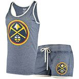 Women's Concepts Sport Heathered Navy Denver Nuggets Loyalty Tank and Shorts Sleep Set