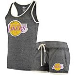 Women's Concepts Sport Heathered Charcoal Los Angeles Lakers Loyalty Tank and Shorts Sleep Set