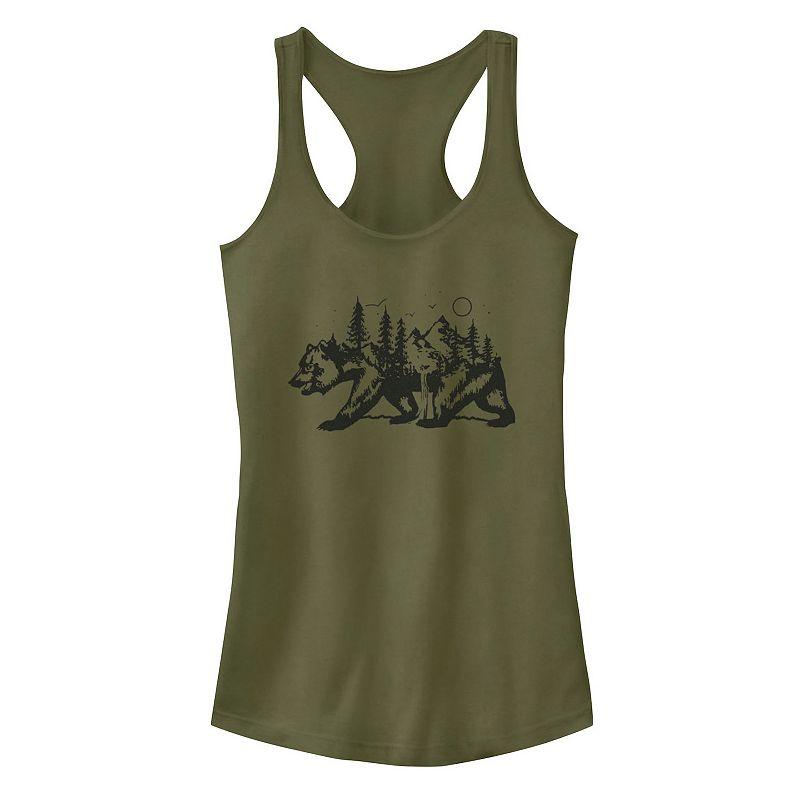 Juniors' Fifth Sun California Bear Landscape Tank Top. Girl's. Size: XS. Green