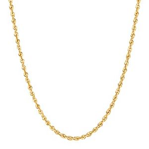 Men's Everlasting Gold 10k Gold Hollow Glitter Rope Chain Necklace