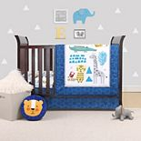 PS by Peanutshell Safari Party 3 Piece Crib Bedding Set