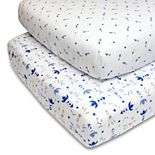 PS by The Peanutshell 2 Pack Rockets & Shooting Stars Fitted Sheets